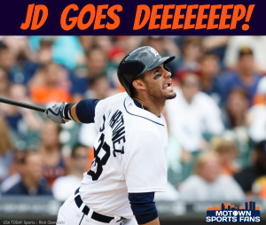 jd martinez hit his third home run in four games, nine game hitting streak