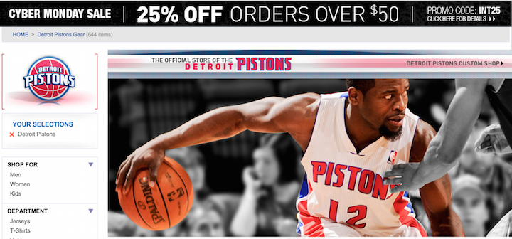 NBA Shop Detroit Pistons Cyber Monday deals