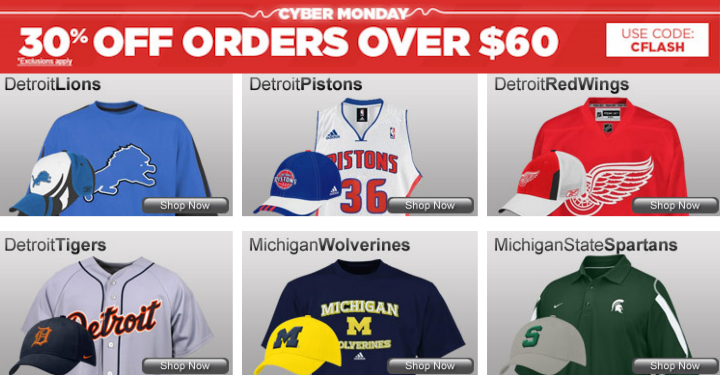 Fanatics Detroit Sports Cyber Monday Deals